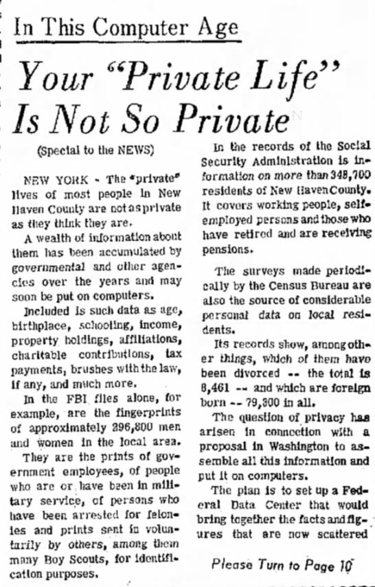1967 view of information privacy