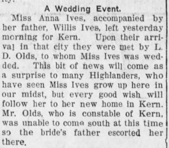 Anna Ives Wed in Kern 1908
