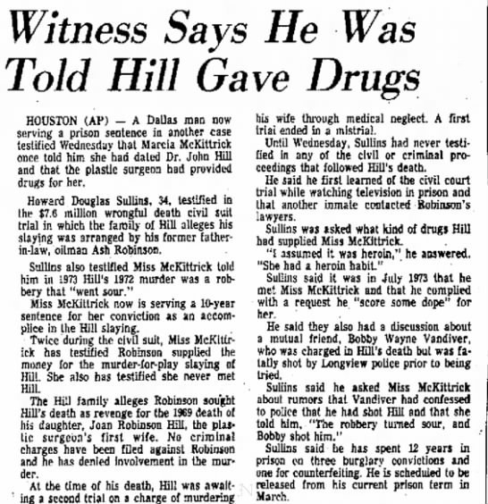 Convict says McKittrick dated John Hill 1977