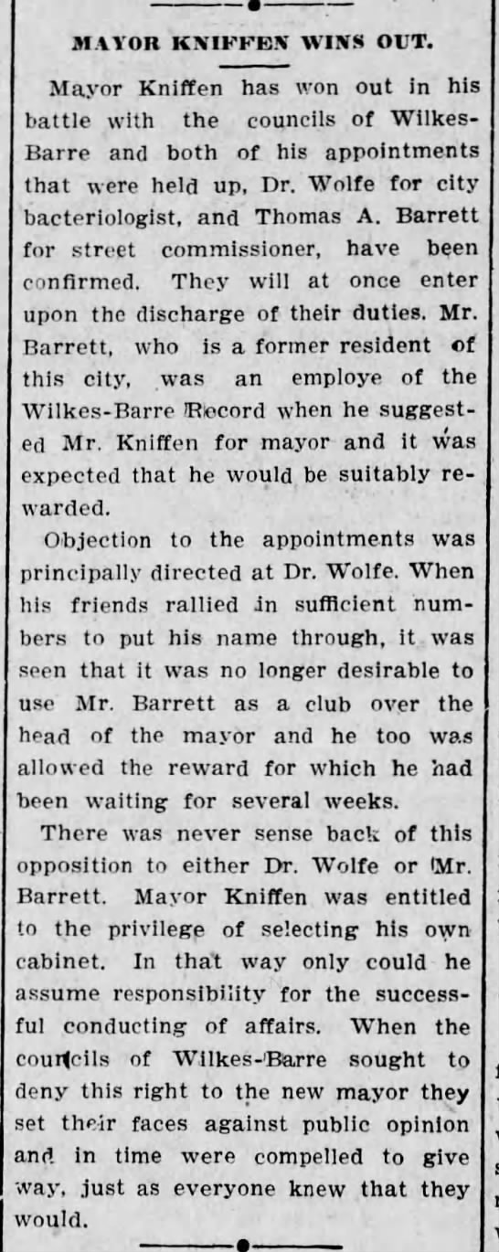 The Scranton Republican 3o April 1908 Thomas A. Barrett becomes street comissioner
