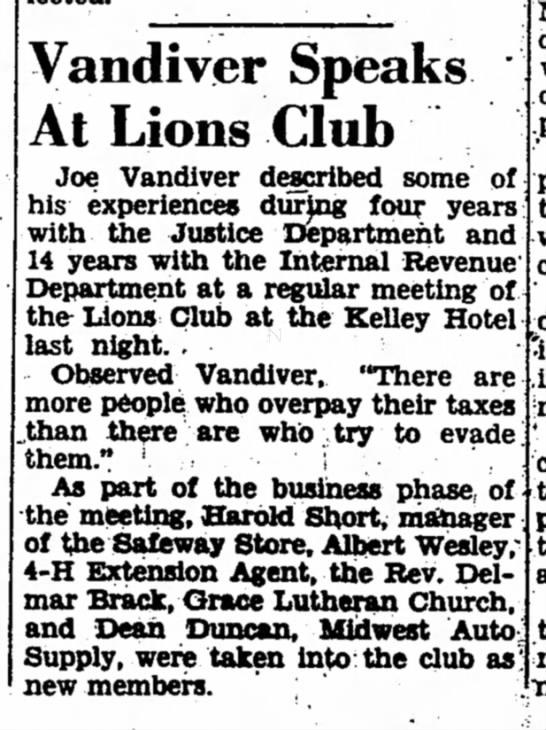 Dean Duncan - joins Lions Club 1953