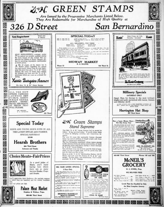 S&H Green Stamps - San Bernardino Ad - 6 May 1922