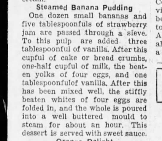 Steamed banana pudding.