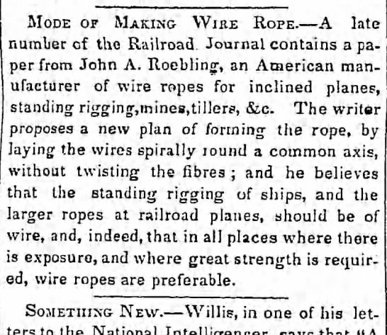 Roebling 1843 wire rope
