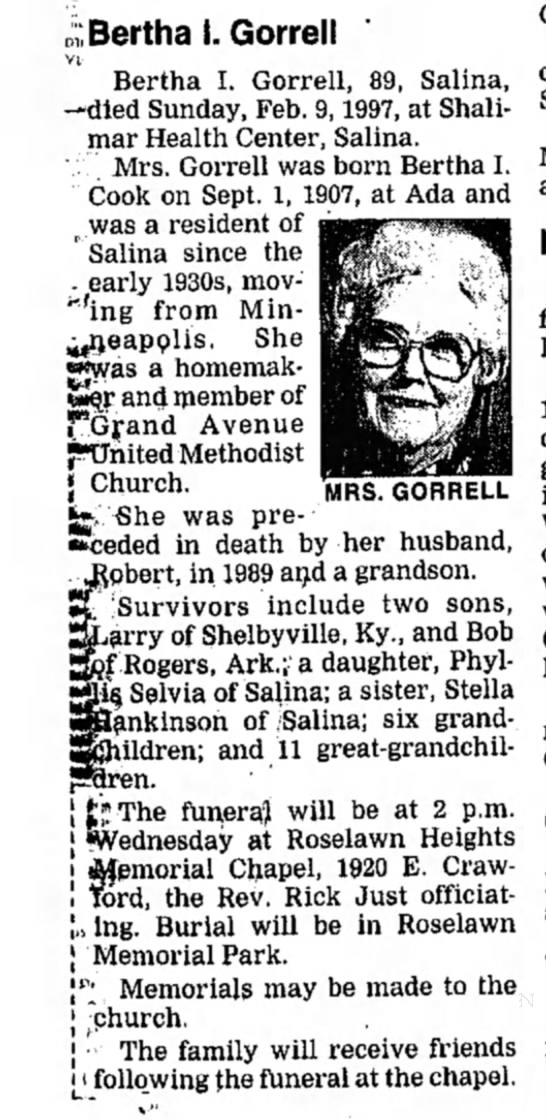 Bertha Cook Gorrell Obituary The Salina Journal 11 Feb 1997 page 7