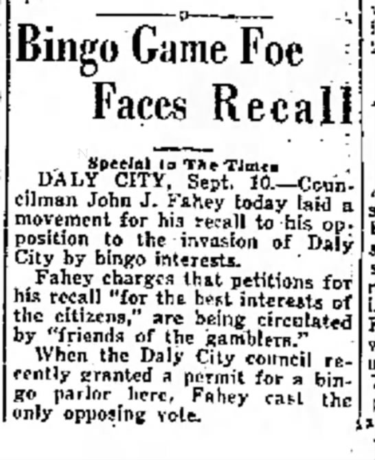 Bingo Game Foe Faces Recall