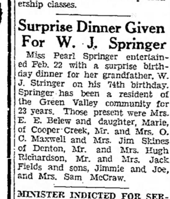W.J.Springer surprise dinner 23 Feb 1934.