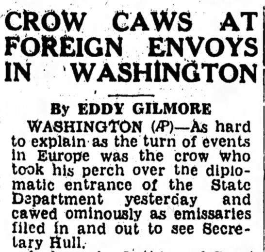 """Crow Caws at Foreign Envoys in Washington"""