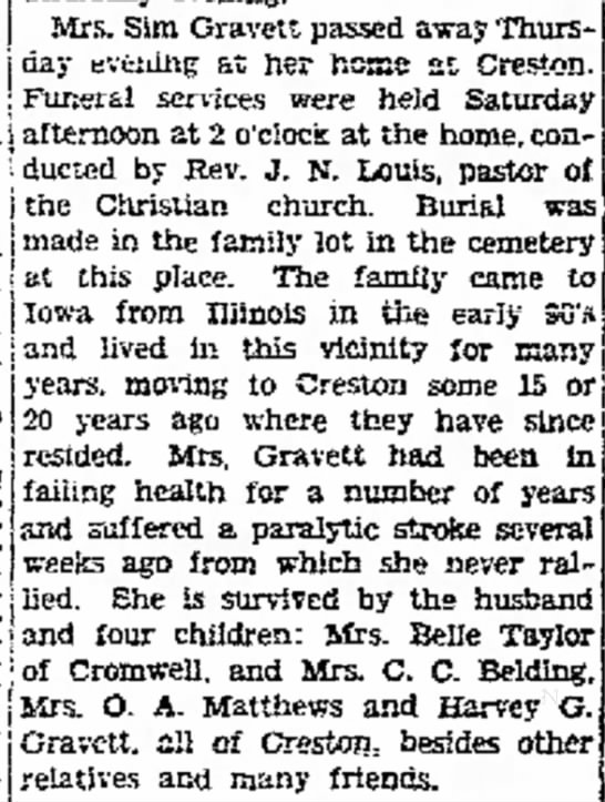 Nancy (Moreland) Gravett obit daughter of Charles H Moreland