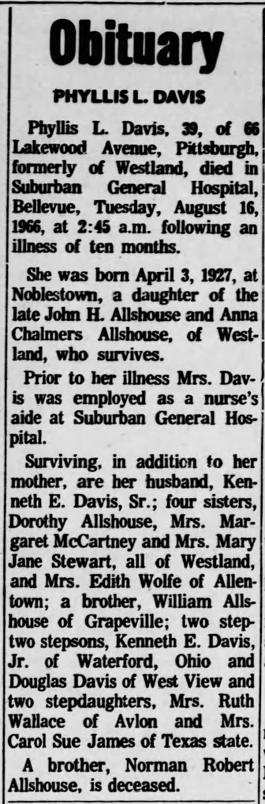 Obituary of Phyllis L Davis - dated 17 Aug 1966