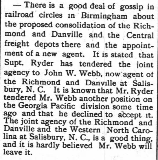 John W. Webb declined offer from Georgia Pacific railroad