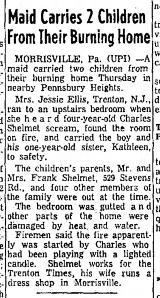 How Uncle Charlie set the house on fire when he was 4.