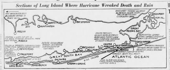 Damages on Long Island due to 1938 New England hurricane