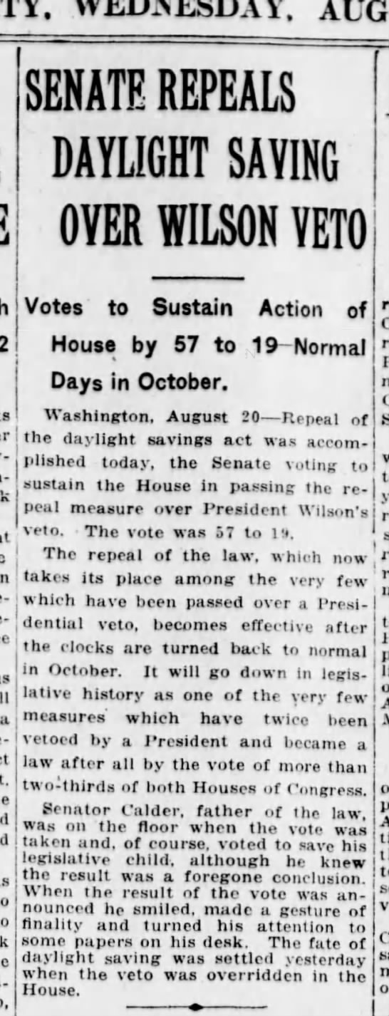 WWI daylight saving time repealed, 1919