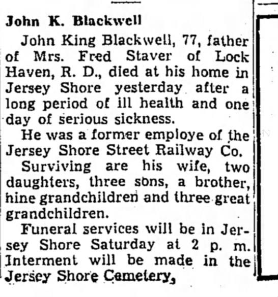 John King Blackwell obituary
