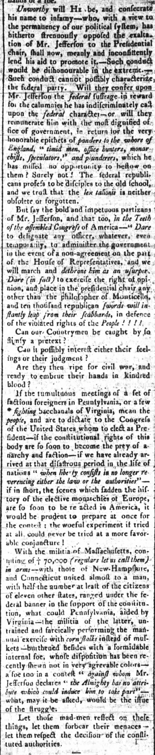 Article from a Federalist paper critical of Federalists in Congress willing to support Jefferson