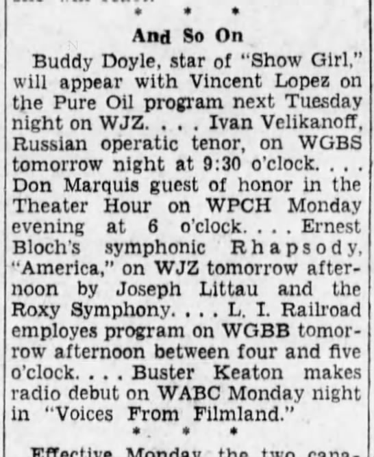 And So On  Don Marquis on WPCH   Buster Keaton radio debut WABC February 22,  1930