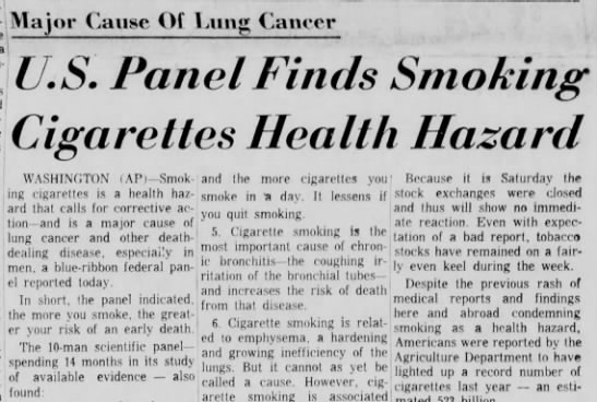 Landmark Surgeon General Report on the Health Hazards of Smoking