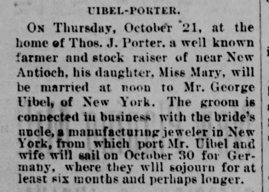 1886 George Uibel (Uible) marries Mary Porter.