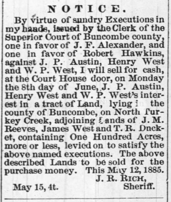 Execution Notice - J F Alexander, Robert Hawkins, J P Austin, Henry West, W P West