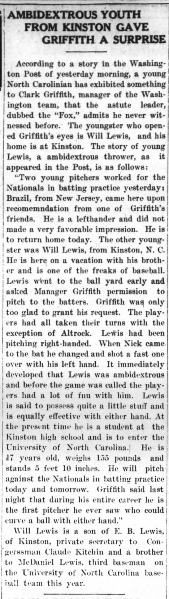 Will Lewis - Ambidextrous HS pitcher 1915