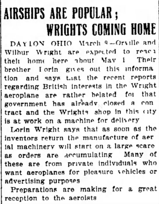 Airships are Popular, Wrights Coming Home