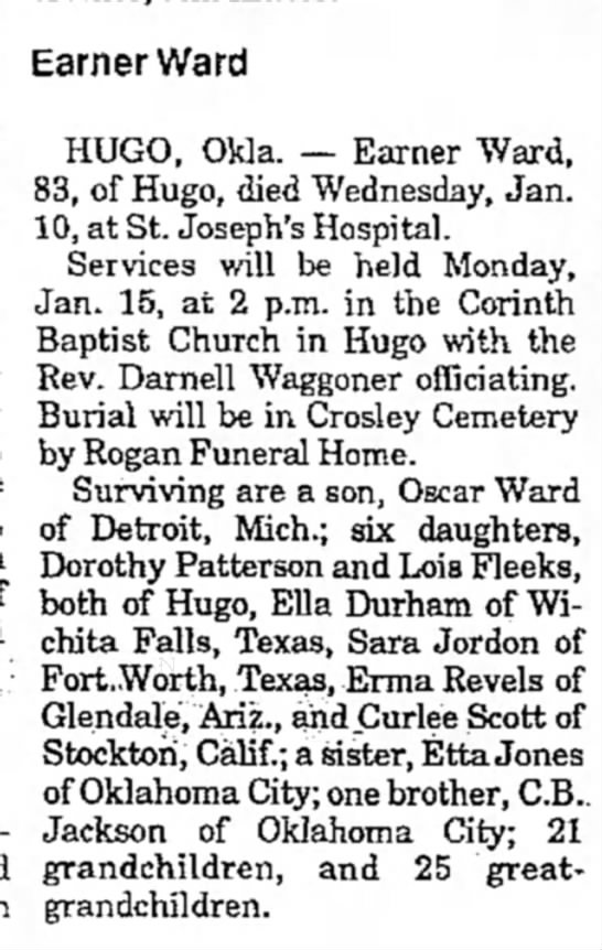 Earner Ward Obituary