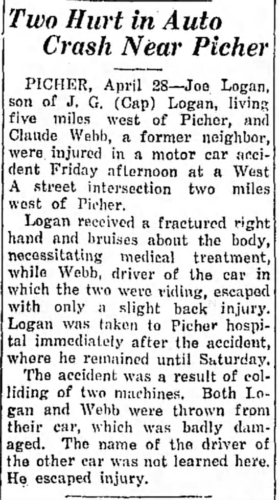 Joe Logan hurt in auto crash near Picher - Apr 1934