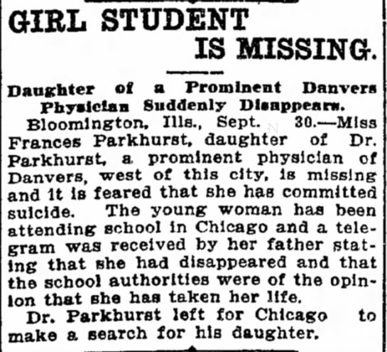 Girl Student Is Missing, The Daily Review, Decatur, Illinois, Friday, 30 Sep 1904, Page 1