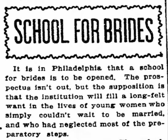 """""""The institution will fill a long-felt want...of young women who...couldn't wait to be married."""""""