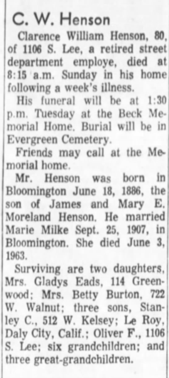 Clarence W Henson obit son of James and Mary (Moreland) Henson