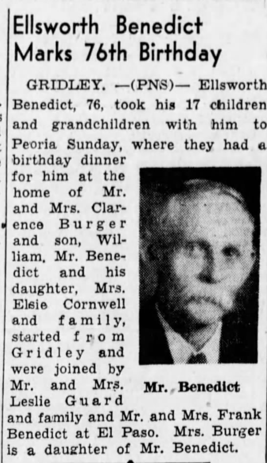 Ellsworth Benedict 1 Oct 1940 Pantagraph