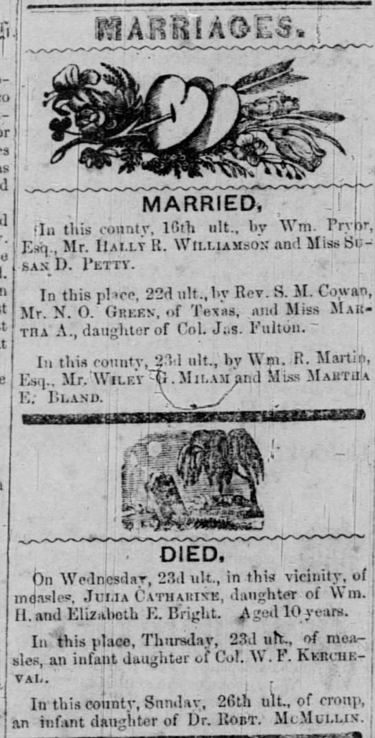 Marriages and Deaths