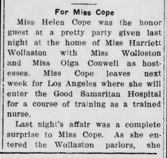 Miss Helen Cope to leave for nursing school. pt.1 pub 21 Jan 1910.  Verify before posting.