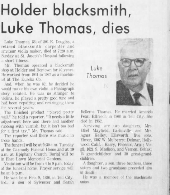 Henry Luke Thomas obit