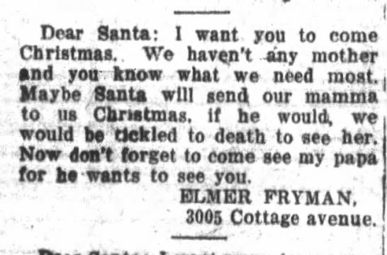 Letter to Santa, 1916, Illinois