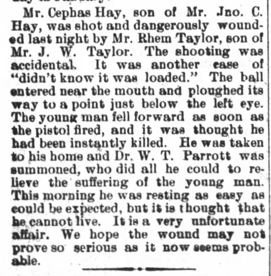The Daily Free Press (Kinston, NC)   Wed., 26 Dec. 1900   Cephas Hay Shot