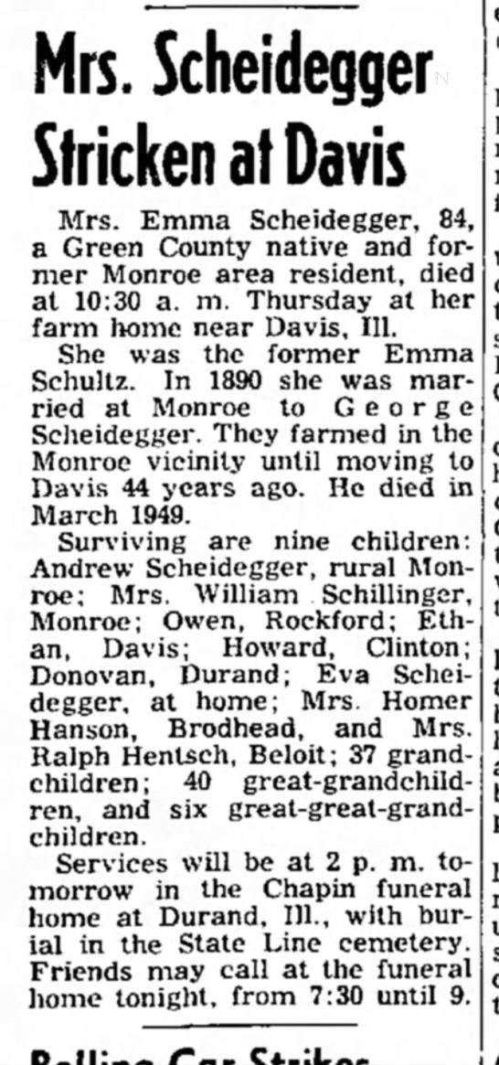 Emma Scheidegger Obituary