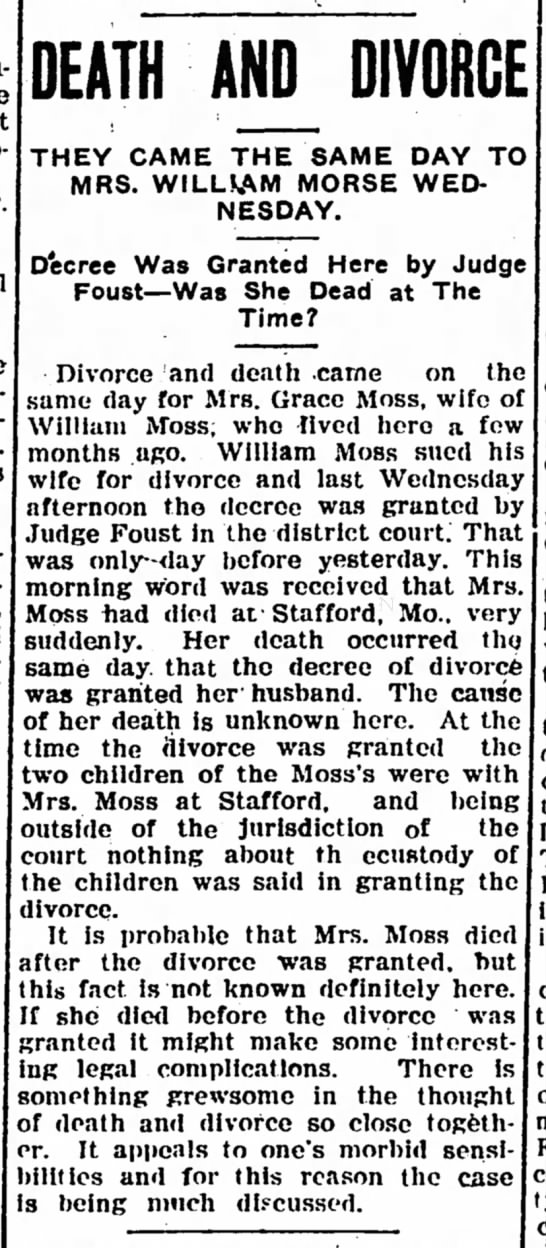 Grace Moss wife of William Moss The Ioloa Register 16 Feb 1906 Page 2