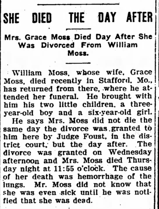 Died The Day After - Grace Moss - The Iola Register 24 Feb 1906 Page 3