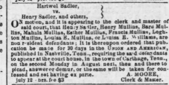 Mention of a Henry Sadler in lawsuit with Hartwel Sadler