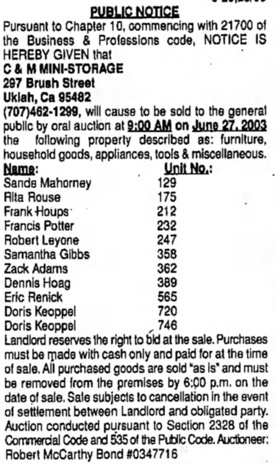 Sale of unclaimed Storage:  20 Jun 2003, Doris Keoppel