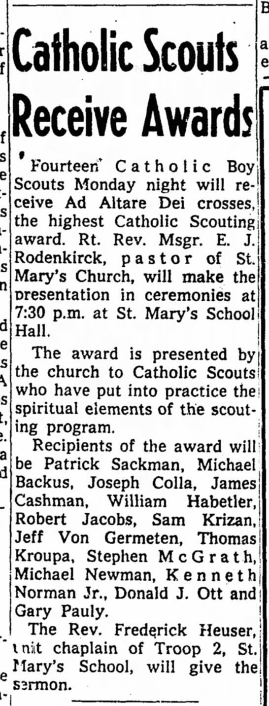 Bill Habetler BSA award 1957