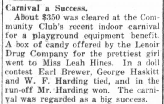 "The Daily Free Press (Kinston, NC)   Monday, 30 August 1920   Earl Brewer  ""Carnival a Success"""