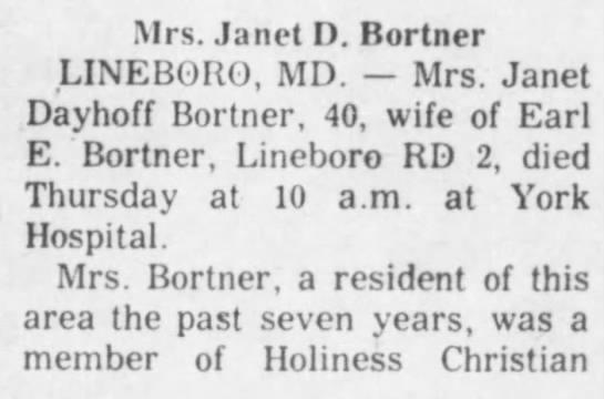 Janet (Dayhoff) Bortner obituary part 1