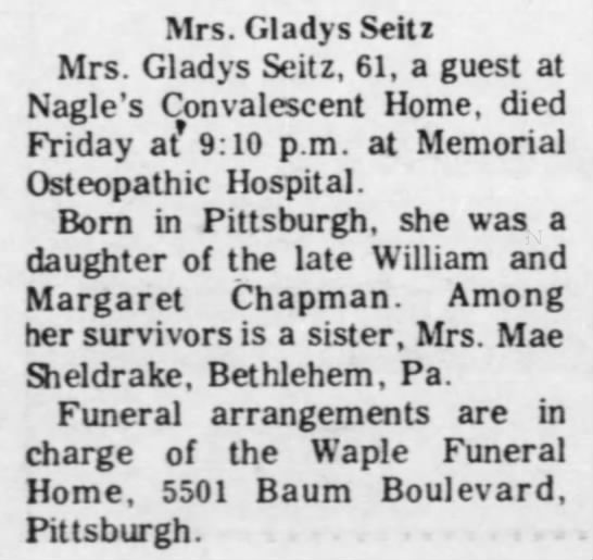 Obit @ Waples Funeral Home