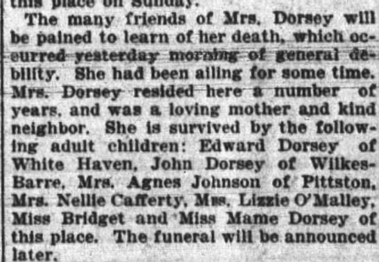 Obituary for Catherine Reilly-Dorsey (April 11,1899)