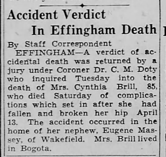 Cynthia West Brill's death an accident.