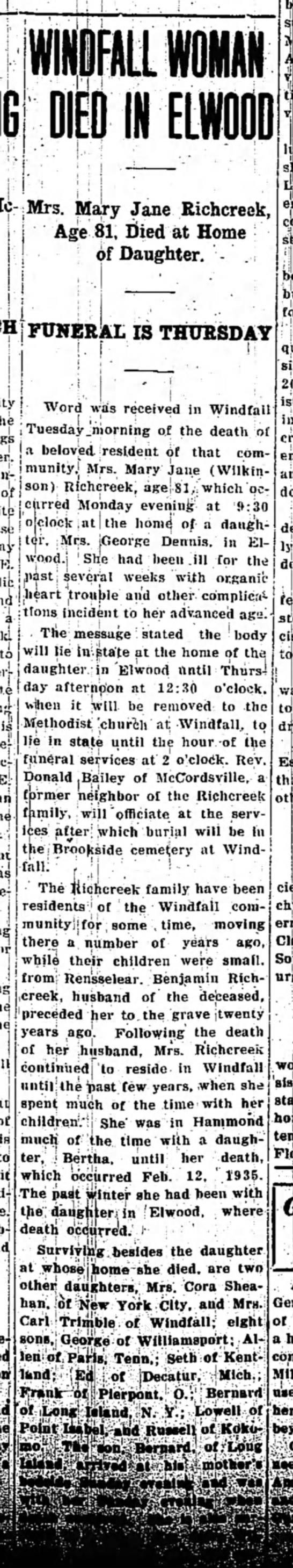 Mary Jane Richcreek Death Notice- 14-Apr-1936
