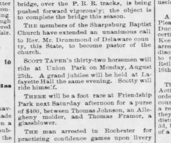 Taper Scott - to put on riding tournament with 32 colored horsemen - Pgh Post 14 Aug 1879 p4
